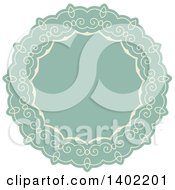 Beige And Turquoise Fancy Round Label Design Element