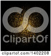 Clipart Of A Background Of Golden Glitter On Black Royalty Free Vector Illustration