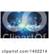 Clipart Of A Blue Background With Sparkly Bokeh Flares Royalty Free Illustration