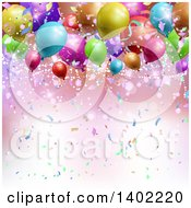 Clipart Of A Background Of Confetti Flares And 3d Colorful Party Balloons Royalty Free Vector Illustration