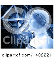 Clipart Of A Male Human Head With An Explosion And Dna Strands Royalty Free Illustration