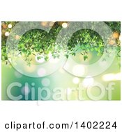 Clipart Of A Background Of Green Vines And Flares Royalty Free Illustration