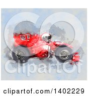 Clipart Of A Water Color Painted Race Car And Driver Royalty Free Illustration by KJ Pargeter