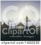Clipart Of A Ramadan Kareem Background With A Silhouetted Mosque Text And Moon Royalty Free Vector Illustration by KJ Pargeter