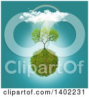 Clipart Of A 3d Tree Growing On A Glassy Planet With Clouds Rain A Rainbow And Sunshine Royalty Free Illustration