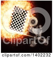 Clipart Of A 3d Robot Swinging A Checkered Racing Flag With A Fiery Explosion On Black Royalty Free Illustration