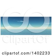 Clipart Of A 3d Panoramic Blue Sky And Ocean Water Landscape Royalty Free Illustration