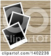 Clipart Of Blank Instant Photographs On Wood Panels Royalty Free Vector Illustration