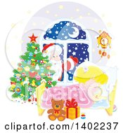 Clipart Of A Santa Clause Outside Of A Window With A Blond Caucasian Girl Sleeping On Christmas Eve Royalty Free Vector Illustration