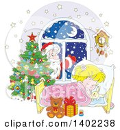 Clipart Of A Santa Clause Outside Of A Window With A Blond White Girl Sleeping On Christmas Eve Royalty Free Vector Illustration