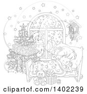 Clipart Of A Black And White Lineart Santa Clause Outside Of A Window With A Girl Sleeping On Christmas Eve Royalty Free Vector Illustration