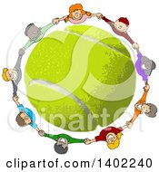 Circle Of Happy Children Holding Hands Looking Up And Smiling Around A Tennis Ball