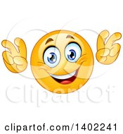 Clipart Of A Cartoon Yellow Smiley Face Emoji Emoticon Doing Air Quotes Royalty Free Vector Illustration