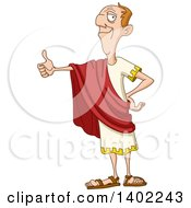 Clipart Of A Happy Roman Emperor Giving A Thumb Up Royalty Free Vector Illustration by yayayoyo