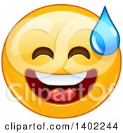 Clipart Of A Cartoon Yellow Smiley Face Emoji Emoticon Breaking Out Into A Cold Sweat Royalty Free Vector Illustration