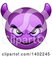 Clipart Of A Cartoon Purple Smiley Face Emoji Emoticon With Horns Royalty Free Vector Illustration