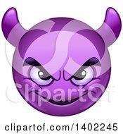 Clipart Of A Cartoon Purple Smiley Face Emoji Emoticon With Horns Royalty Free Vector Illustration by yayayoyo