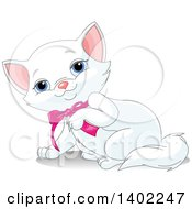 Clipart Of A Cute Blue Eyed White Kitty Cat Wearing A Pink Bow And Lifting A Paw Royalty Free Vector Illustration