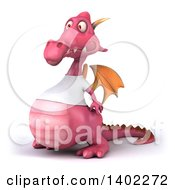 Clipart Of A 3d Pink Dragon Wearing A White Shirt On A White Background Royalty Free Illustration by Julos