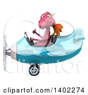 Clipart Of A 3d Pink Dragon Flying An Airplane On A White Background Royalty Free Illustration by Julos
