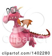 Clipart Of A 3d Pink Dragon Wearing Glasses On A White Background Royalty Free Illustration by Julos