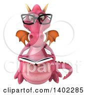 Clipart Of A 3d Pink Dragon On A White Background Royalty Free Illustration by Julos