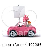 Clipart Of A 3d Pink Dragon Driving A Convertible Car On A White Background Royalty Free Illustration by Julos