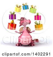 Clipart Of A 3d Pink Dragon Juggling Gifts On A White Background Royalty Free Illustration by Julos