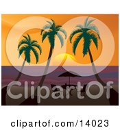 Poster, Art Print Of Royalty-Free Travel Clipart Picture Of A Table With An Umbrella Silhouetted On A Beach Under Three Palm Trees At Sunset