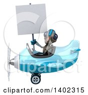 Clipart Of A 3d Alien Flying An Airplane On A White Background Royalty Free Illustration
