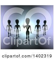 Clipart Of A 3d Group Of Aliens Over Gradient Royalty Free Illustration
