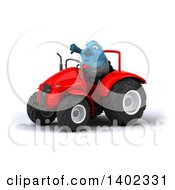 Clipart Of A 3d Bluebird Farmer Operating A Tractor On A White Background Royalty Free Illustration