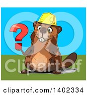 Clipart Of A Cartoon Construction Beaver On A Blue And Green Background Royalty Free Illustration