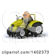 Poster, Art Print Of 3d Robin Operating A Tractor On A White Background