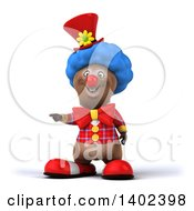 Brown Bear Clown On A White Background