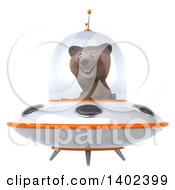 Clipart Of A 3d Brown Bear Flying A Ufo On A White Background Royalty Free Illustration