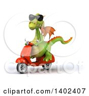 Clipart Of A 3d Green Dragon Riding A Scooter On A White Background Royalty Free Illustration