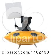 Clipart Of A 3d Black Bear Flying A Ufo On A White Background Royalty Free Illustration