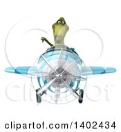 3d Dinosaur Aviator Pilot Flying A Blue Airplane On A White Background