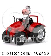 Poster, Art Print Of 3d Cow Farmer Operating A Tractor On A White Background