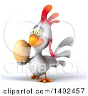 Clipart Of A 3d White Chicken On A White Background Royalty Free Illustration
