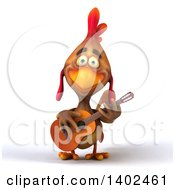 3d Brown Chicken Playing A Guitar On A White Background