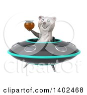 Clipart Of A 3d Polar Bear Flying A Ufo On A White Background Royalty Free Illustration