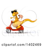 Clipart Of A 3d Yellow Dragon Riding A Scooter On A White Background Royalty Free Illustration by Julos