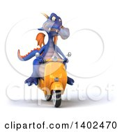Clipart Of A 3d Purple Dragon Riding A Scooter On A White Background Royalty Free Illustration by Julos