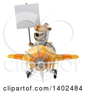 Clipart Of A 3d Arabian Business Camel Flying A Yellow Airplane On A White Background Royalty Free Illustration