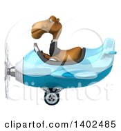 Clipart Of A 3d Business Camel Aviator Pilot Flying A Blue Airplane On A White Background Royalty Free Illustration