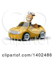 Clipart Of A 3d Business Camel Driving A Convertible Car On A White Background Royalty Free Illustration