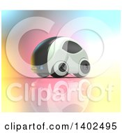 Clipart Of A 3d Futuristic Compact Self Driving Car On Colorful Gradient Royalty Free Illustration by Julos