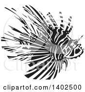 Clipart Of A Black And White Woodcut Lionfish Royalty Free Vector Illustration by xunantunich